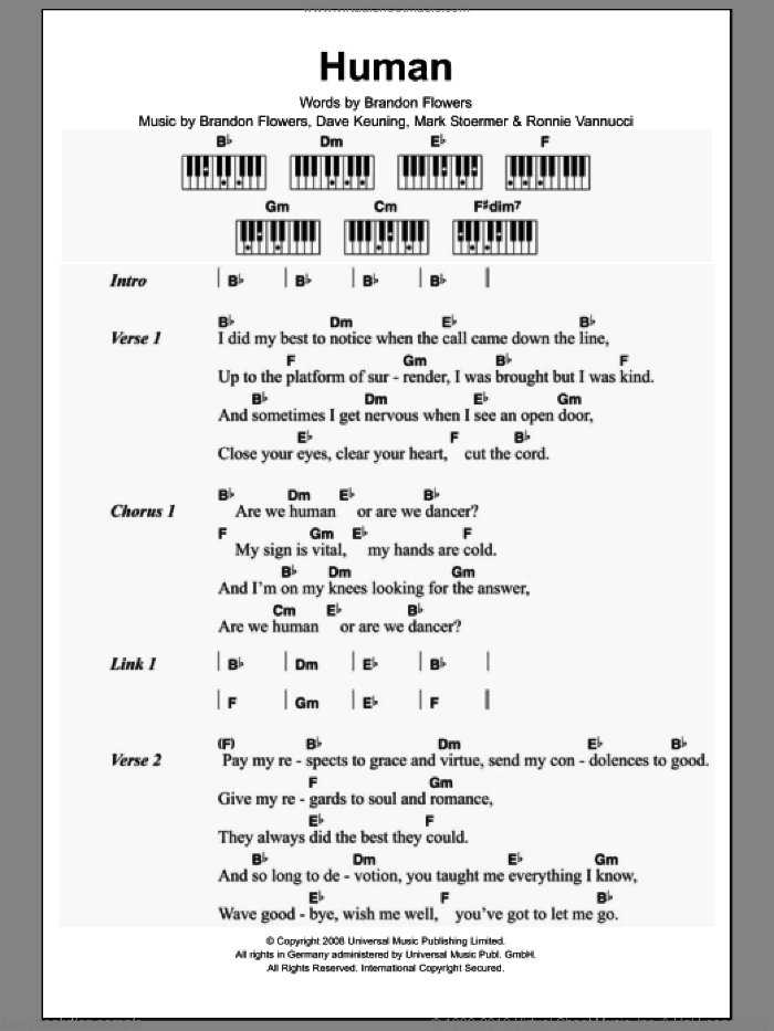 Human sheet music for piano solo (chords, lyrics, melody) by The Killers, Brandon Flowers, Dave Keuning, Mark Stoermer and Ronnie Vannucci, intermediate piano (chords, lyrics, melody). Score Image Preview.