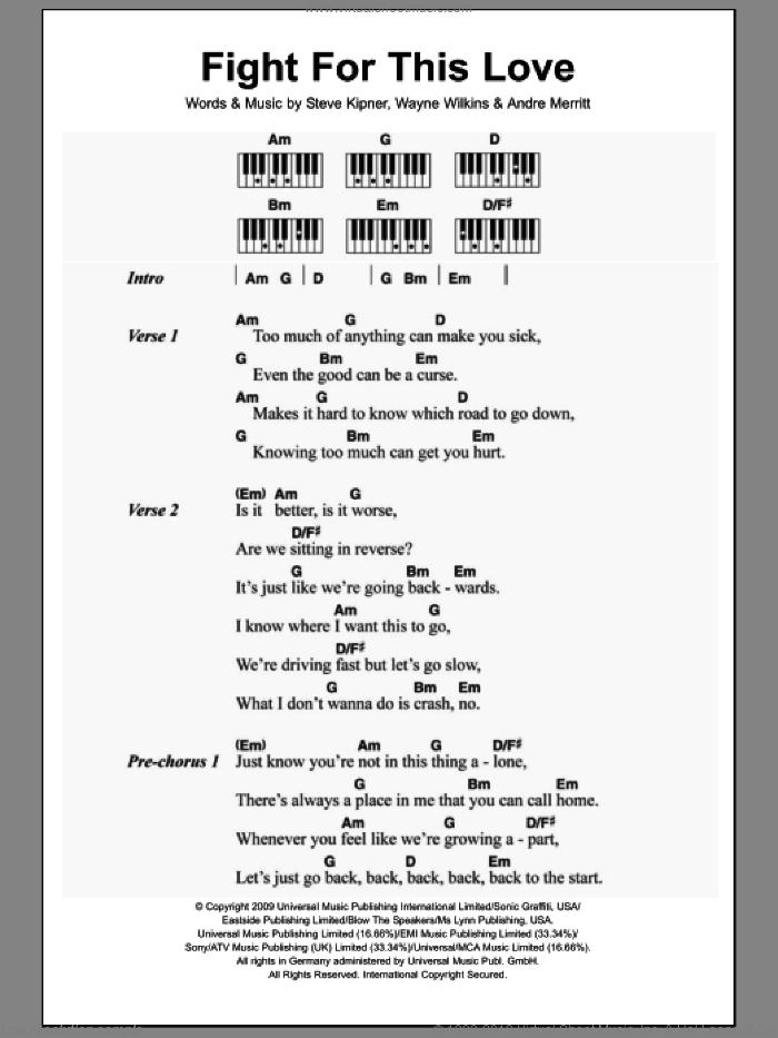 Fight For This Love sheet music for piano solo by Cheryl Cole, Andre Merritt, Steve Kipner and Wayne Wilkins, intermediate. Score Image Preview.