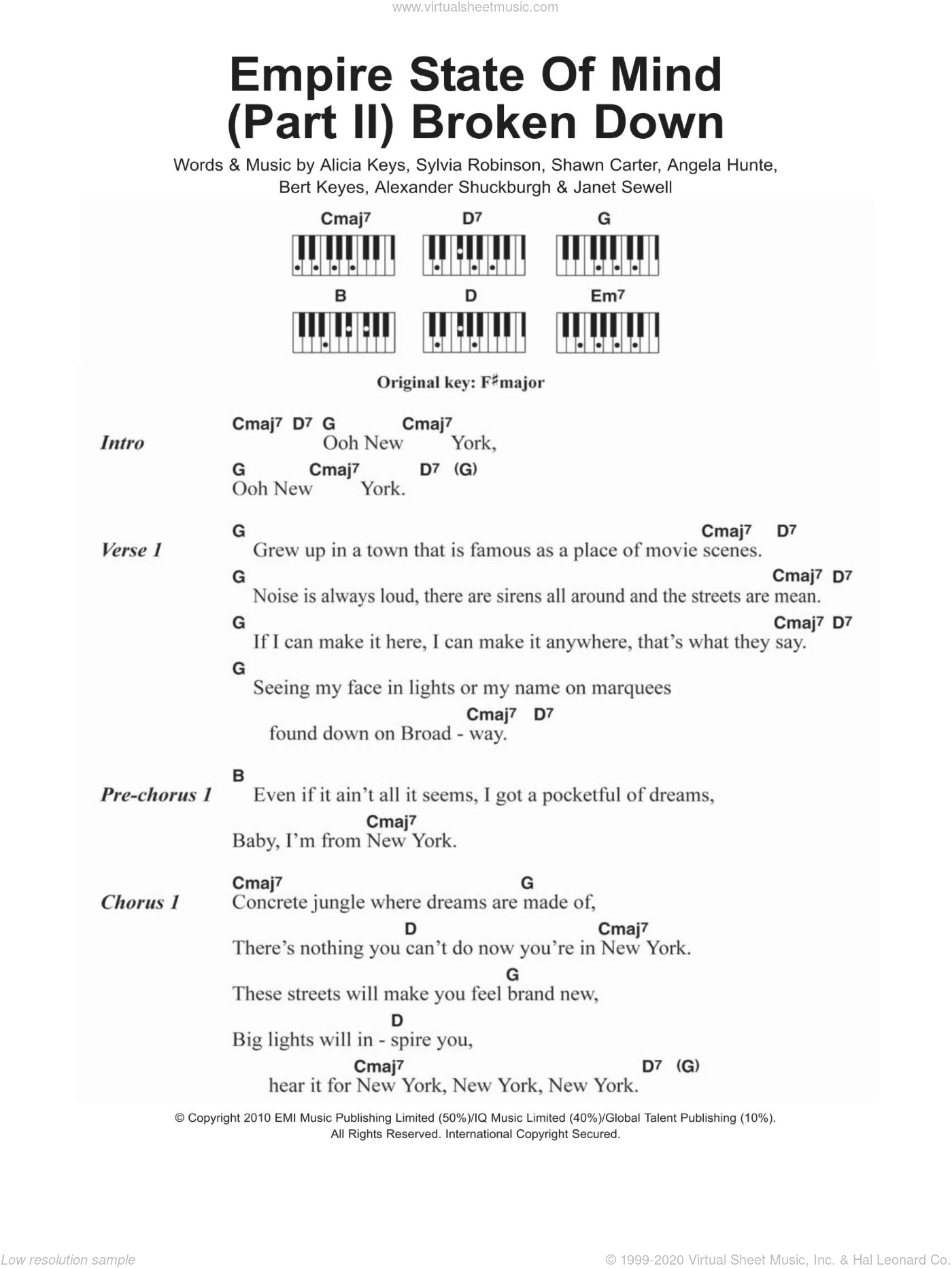 Keys - Empire State Of Mind (Part II) Broken Down sheet music for piano  solo (chords, lyrics, melody)