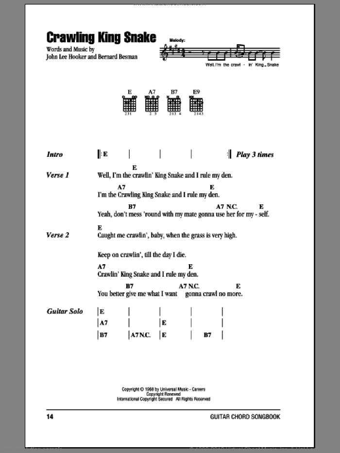 Crawling King Snake sheet music for guitar (chords) by Bernard Besman