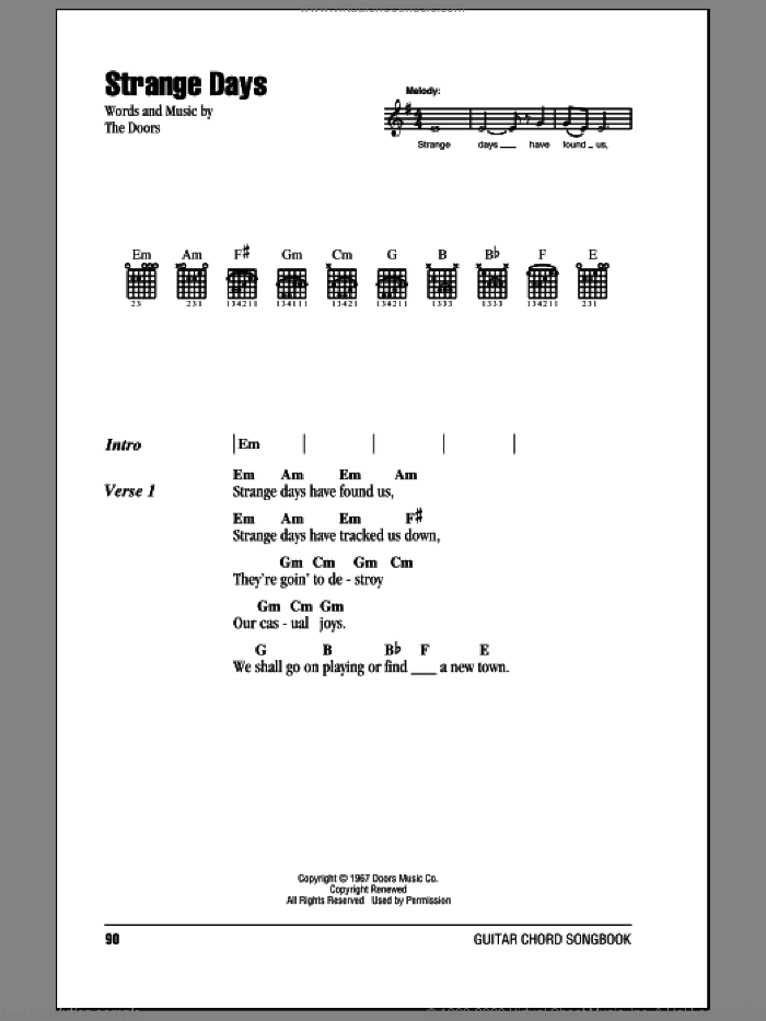 Strange Days sheet music for guitar (chords, lyrics, melody) by The Doors