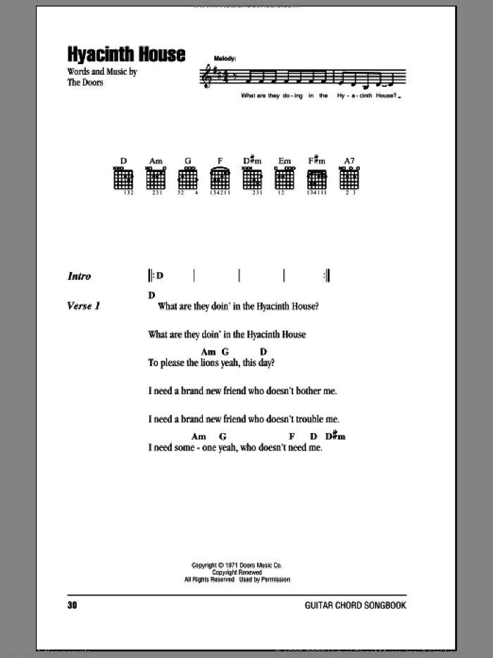 Hyacinth House sheet music for guitar (chords) by The Doors, intermediate skill level