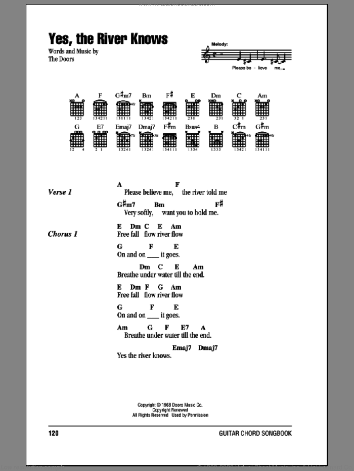 Yes, The River Knows sheet music for guitar (chords) by The Doors, intermediate skill level