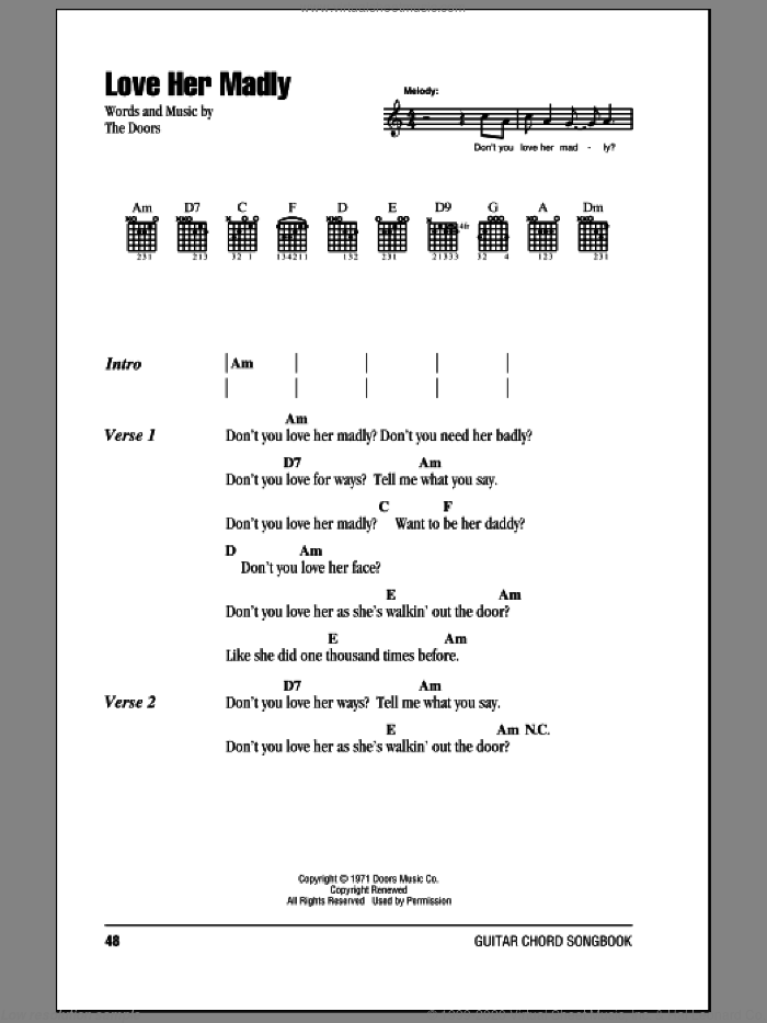 Love Her Madly sheet music for guitar (chords) by The Doors