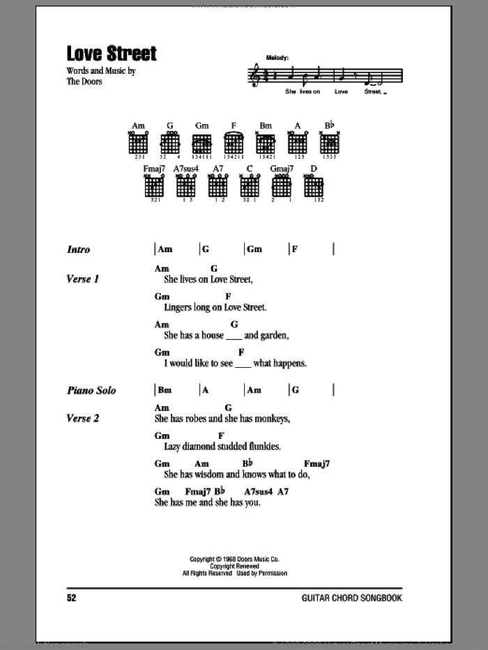 Love Street sheet music for guitar (chords, lyrics, melody) by The Doors