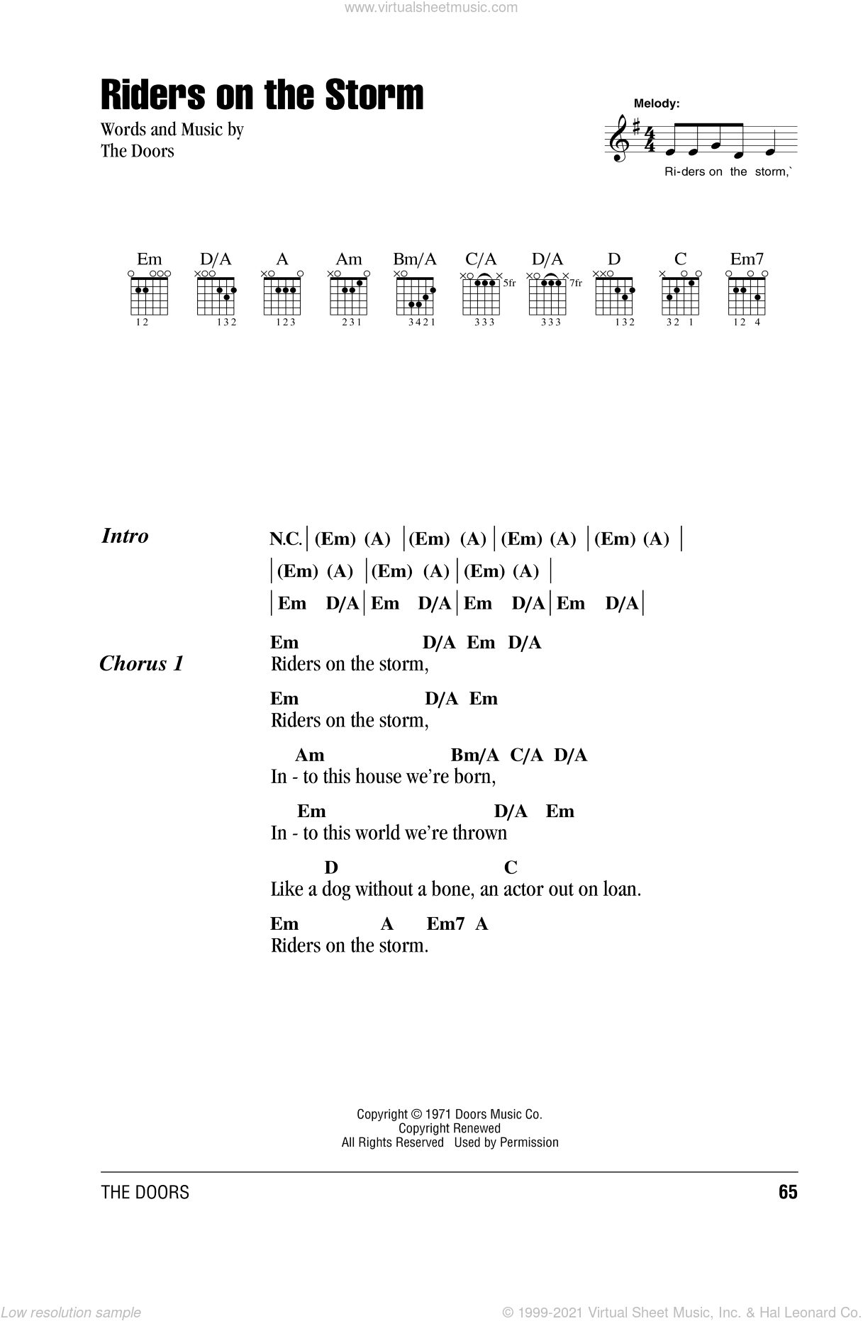 Riders On The Storm sheet music for guitar (chords, lyrics, melody) by The Doors