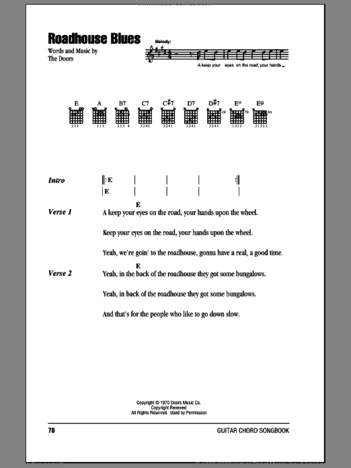 Roadhouse Blues sheet music for guitar (chords, lyrics, melody) by The Doors