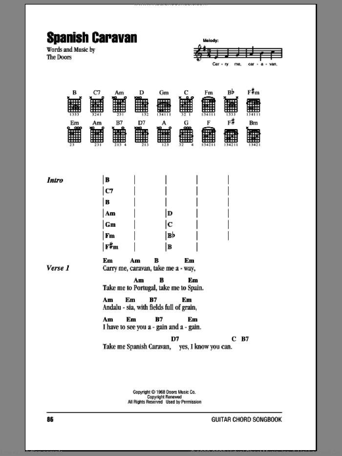 Spanish Caravan sheet music for guitar (chords, lyrics, melody) by The Doors