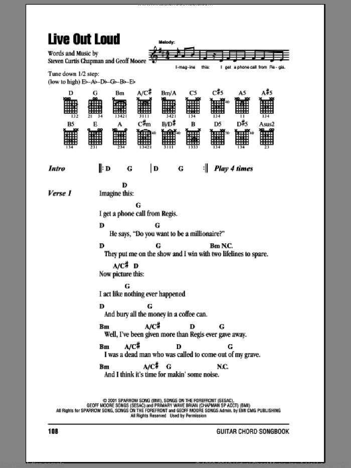 Live Out Loud sheet music for guitar (chords) by Steven Curtis Chapman, intermediate. Score Image Preview.