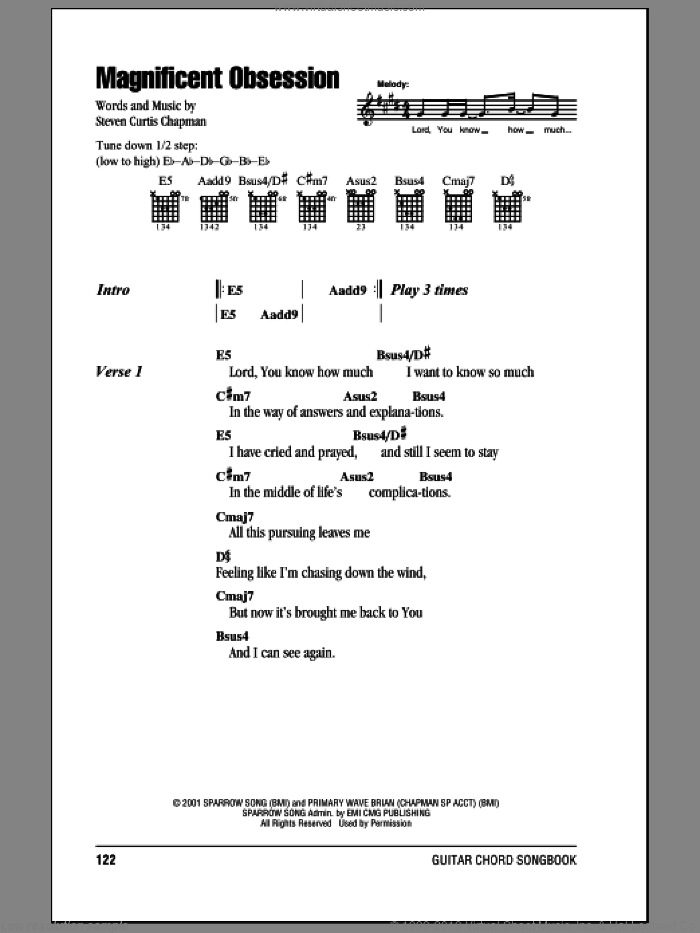 Magnificent Obsession sheet music for guitar (chords) by Steven Curtis Chapman, intermediate skill level