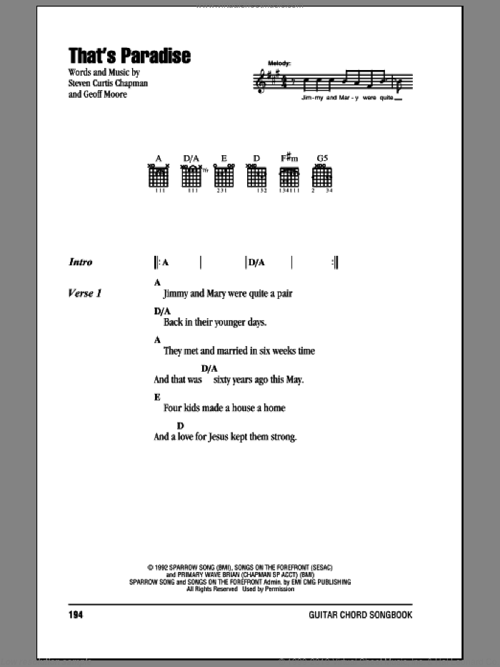 That's Paradise sheet music for guitar (chords) by Steven Curtis Chapman and Geoff Moore, intermediate skill level