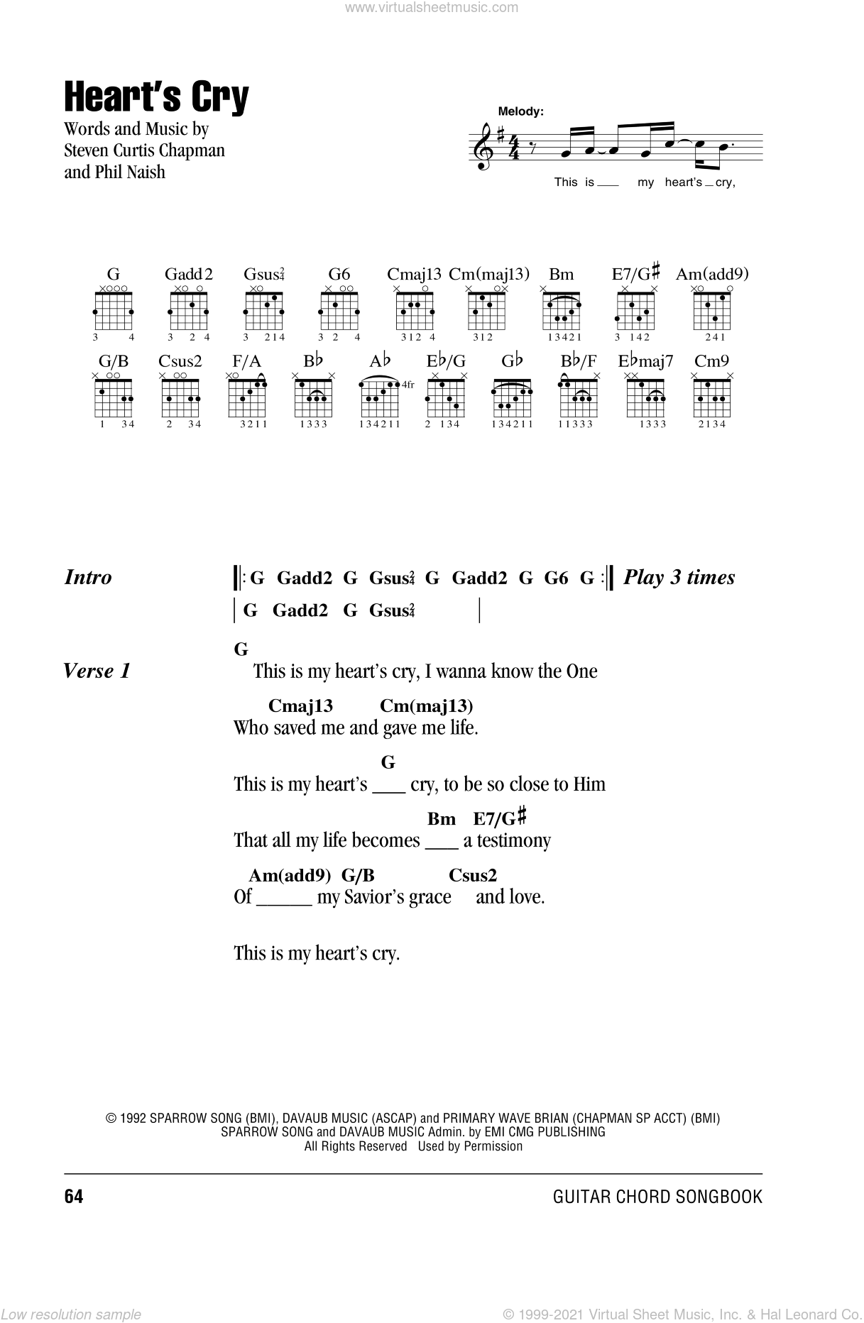 Heart's Cry sheet music for guitar (chords) by Steven Curtis Chapman and Phil Naish, intermediate skill level