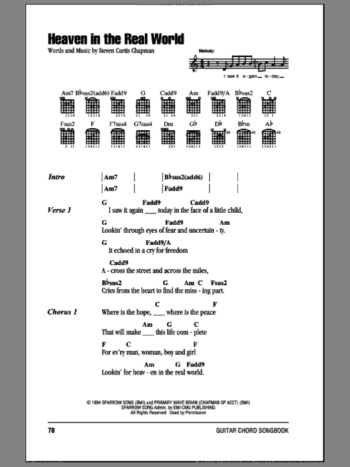 Heaven In The Real World sheet music for guitar (chords) by Steven Curtis Chapman. Score Image Preview.