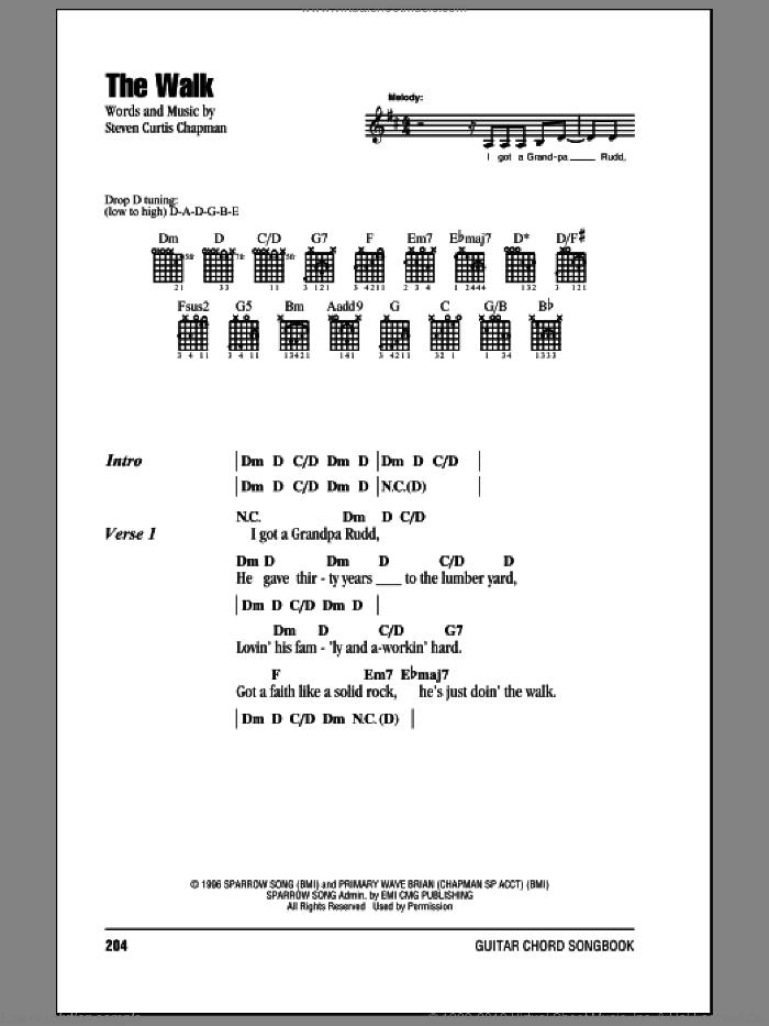 The Walk sheet music for guitar (chords) by Steven Curtis Chapman, intermediate skill level