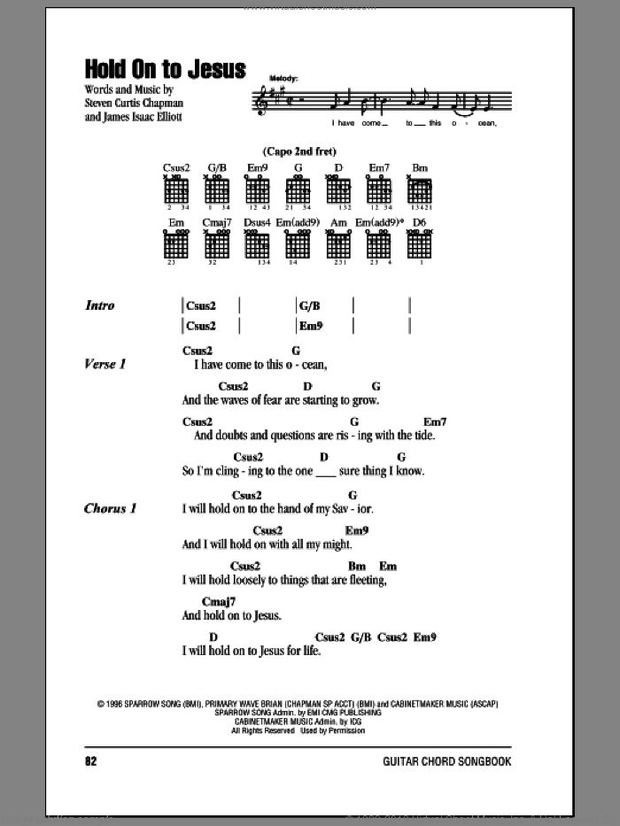 Hold On To Jesus sheet music for guitar (chords) by Steven Curtis Chapman and James Isaac Elliott, intermediate skill level
