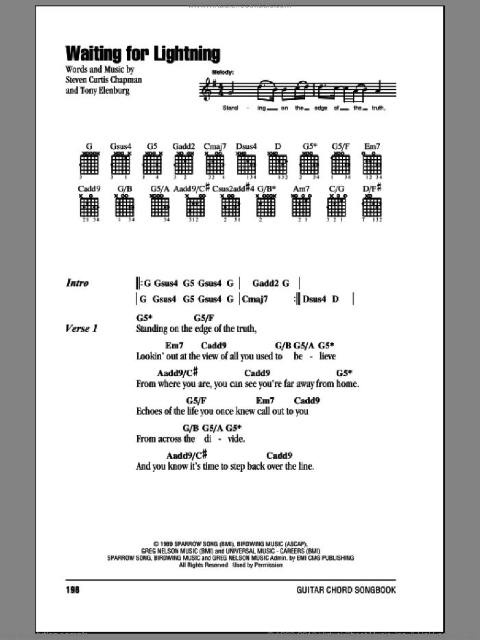 Waiting For Lightning sheet music for guitar (chords) by Tony Elenburg