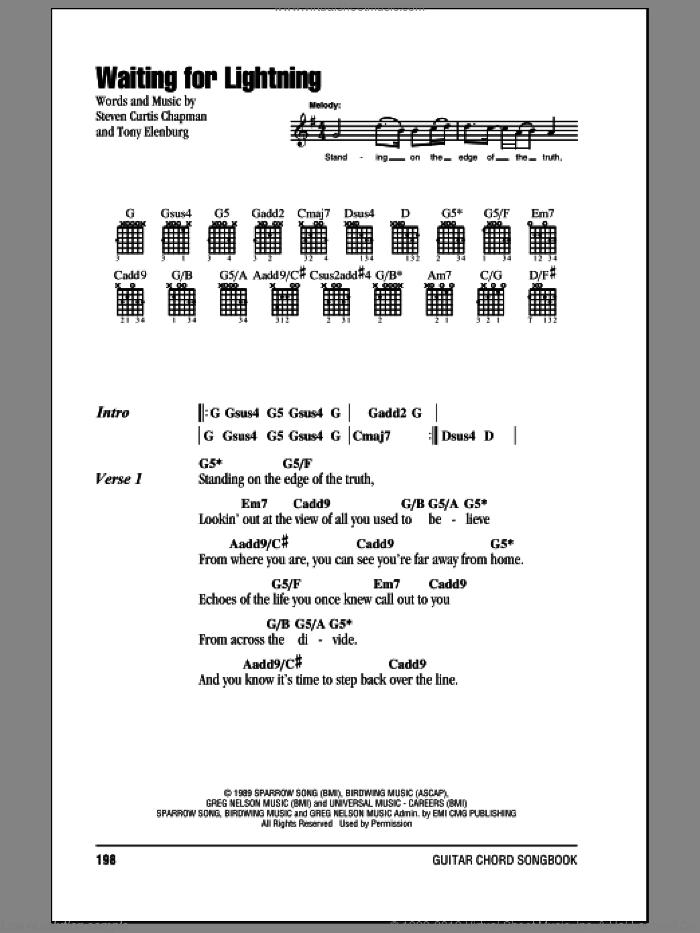 Waiting For Lightning sheet music for guitar (chords) by Steven Curtis Chapman and Tony Elenburg, intermediate skill level