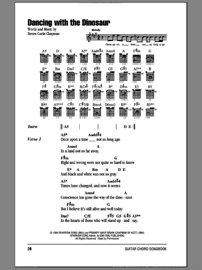 Dancing With The Dinosaur sheet music for guitar (chords) by Steven Curtis Chapman. Score Image Preview.