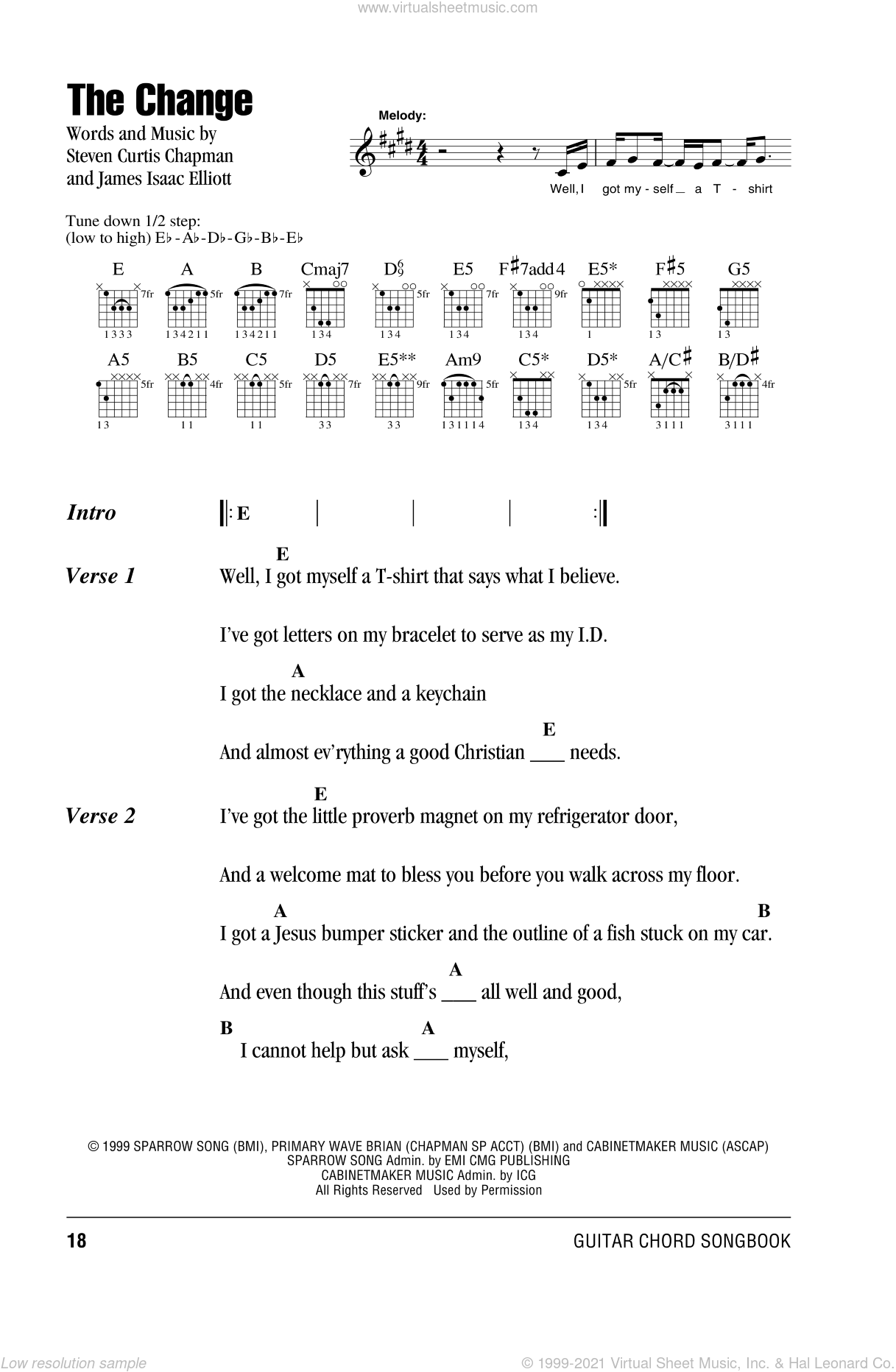 The Change sheet music for guitar (chords) by Steven Curtis Chapman and James Isaac Elliott, intermediate skill level