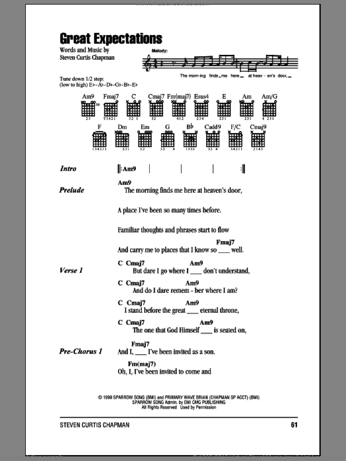 Great Expectations sheet music for guitar (chords) by Steven Curtis Chapman