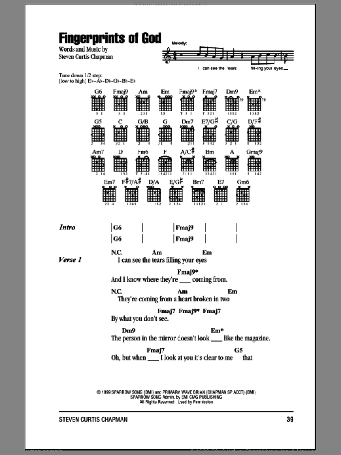 Fingerprints Of God sheet music for guitar (chords, lyrics, melody) by Steven Curtis Chapman