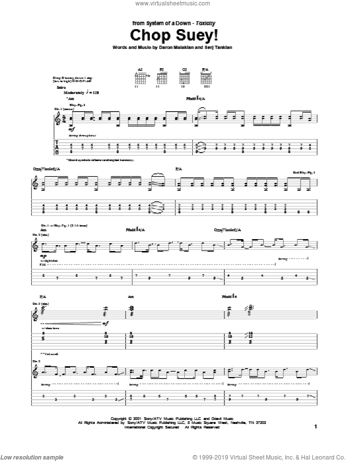 Chop Suey! sheet music for guitar (tablature) by System Of A Down, Daron Malakian and Serj Tankian, intermediate skill level