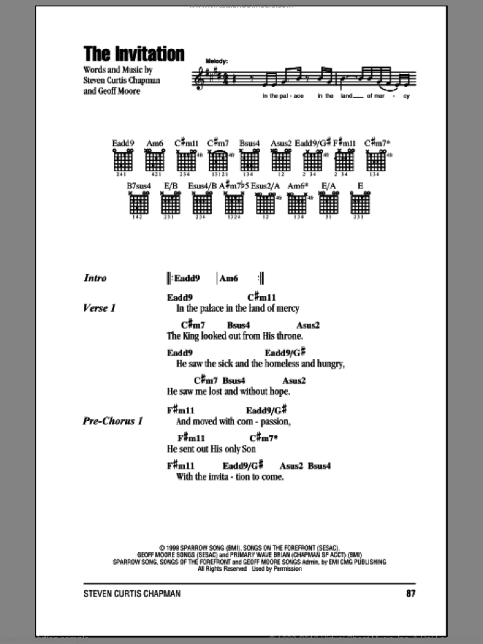 The Invitation sheet music for guitar (chords) by Steven Curtis Chapman and Geoff Moore, intermediate skill level