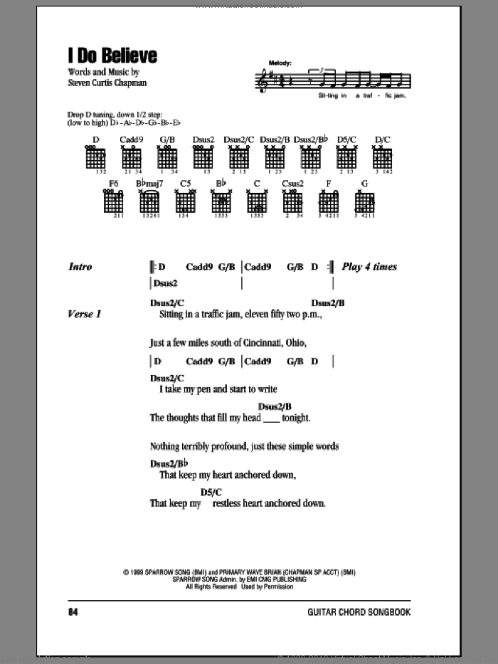 I Do Believe sheet music for guitar (chords) by Steven Curtis Chapman, intermediate skill level