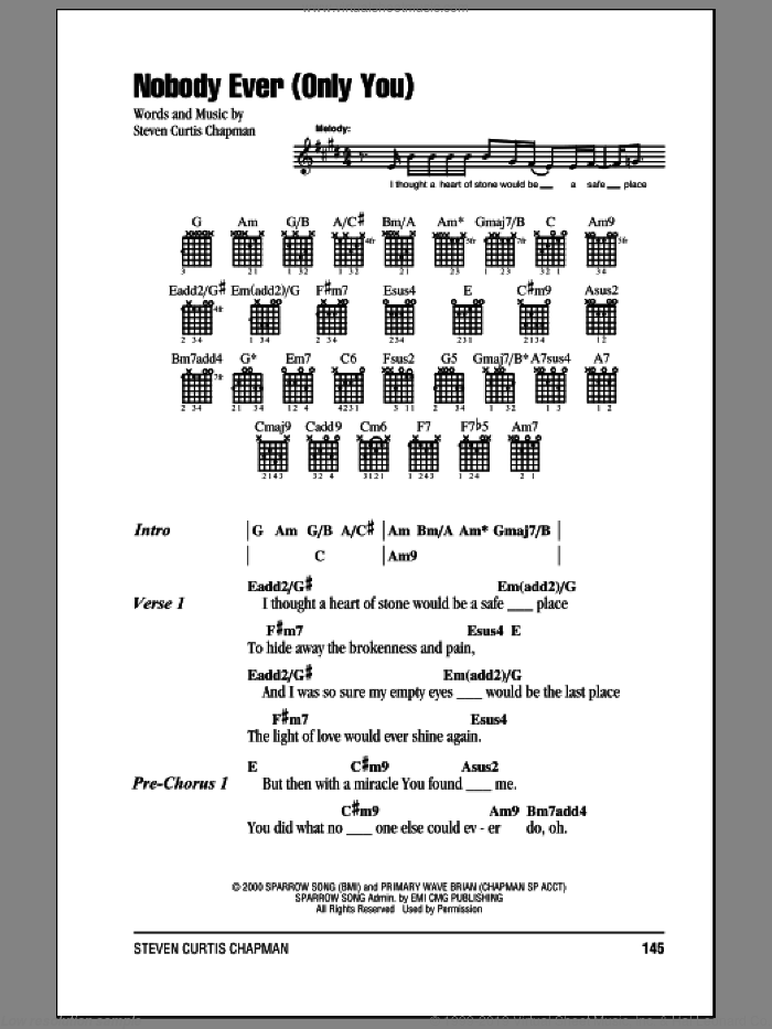 Nobody Ever (Only You) sheet music for guitar (chords) by Steven Curtis Chapman, intermediate. Score Image Preview.