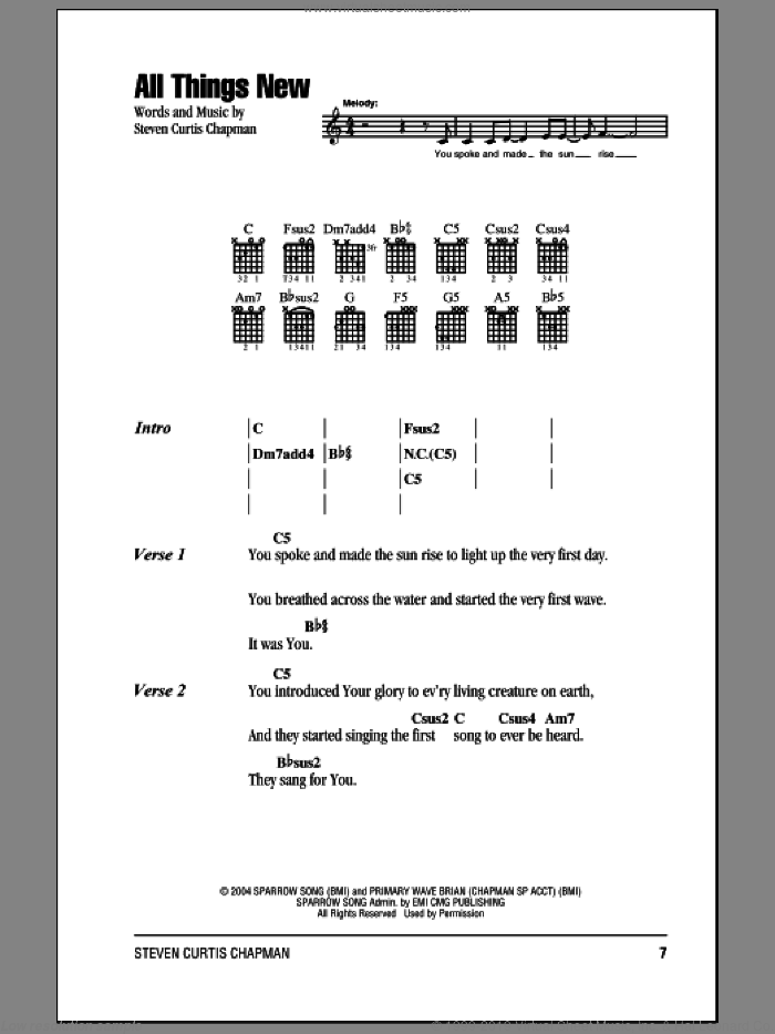 All Things New sheet music for guitar (chords) by Steven Curtis Chapman, intermediate skill level