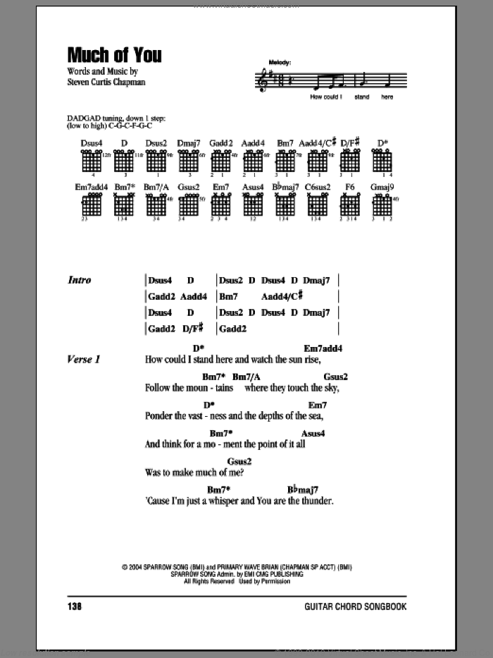 Much Of You sheet music for guitar (chords) by Steven Curtis Chapman. Score Image Preview.