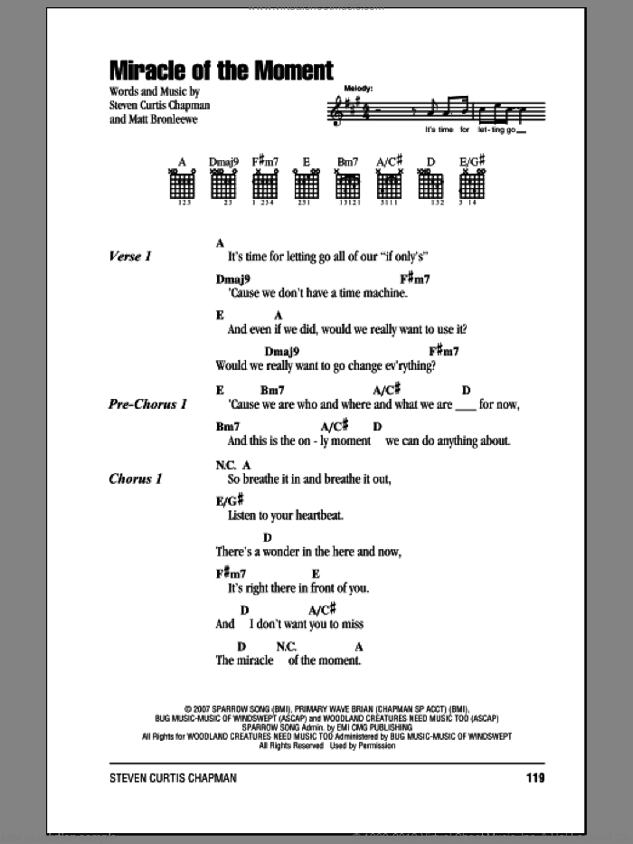 Miracle Of The Moment sheet music for guitar (chords) by Steven Curtis Chapman. Score Image Preview.