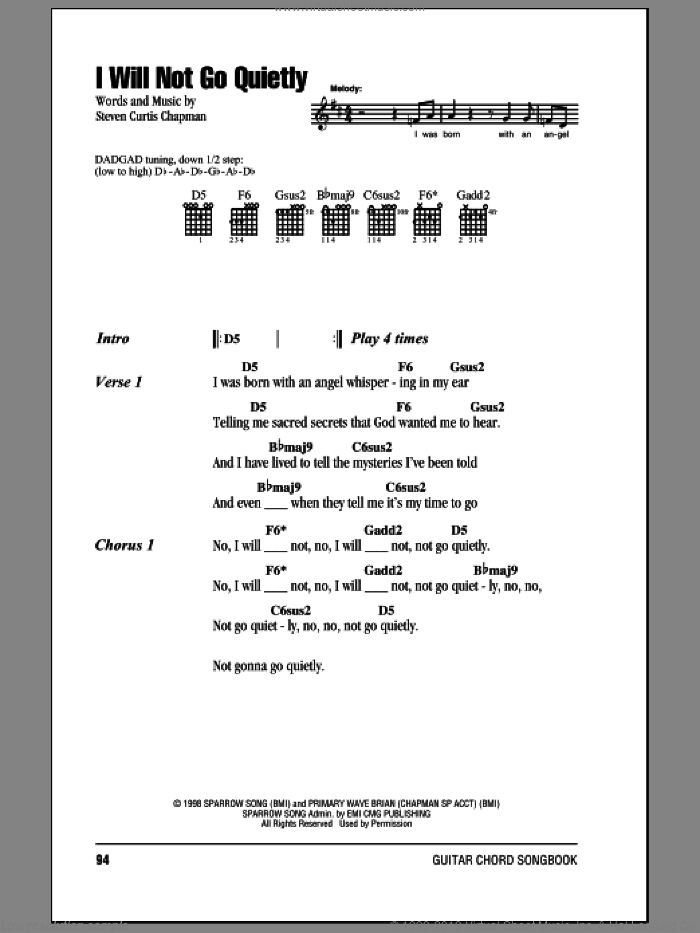 I Will Not Go Quietly sheet music for guitar (chords) by Steven Curtis Chapman, intermediate. Score Image Preview.