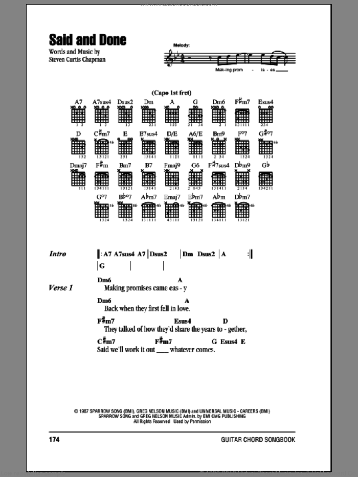 Said And Done sheet music for guitar (chords) by Steven Curtis Chapman