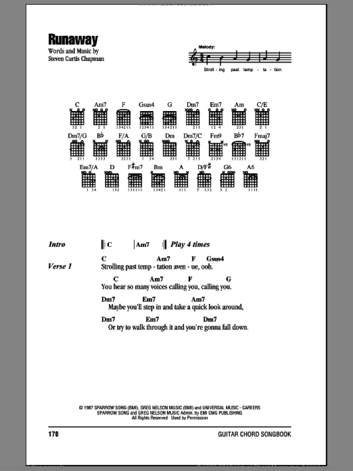 Runaway sheet music for guitar (chords) by Steven Curtis Chapman. Score Image Preview.