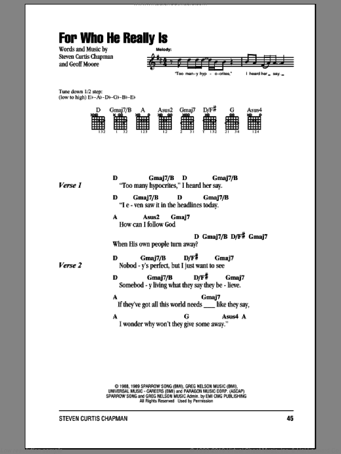 For Who He Really Is sheet music for guitar (chords) by Steven Curtis Chapman and Geoff Moore, intermediate. Score Image Preview.