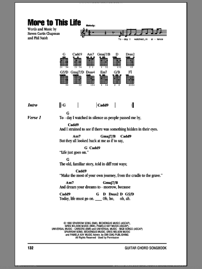 More To This Life sheet music for guitar (chords) by Steven Curtis Chapman and Phil Naish, intermediate