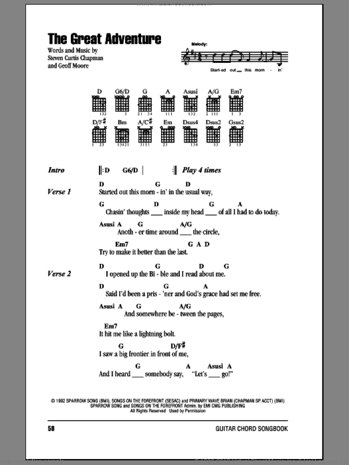 The Great Adventure sheet music for guitar (chords) by Steven Curtis Chapman and Geoff Moore, intermediate skill level