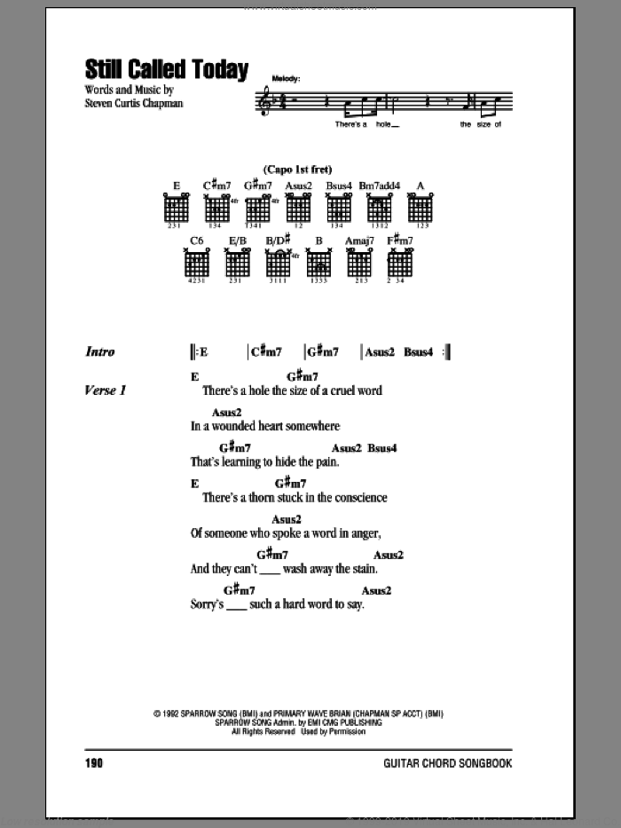 Still Called Today sheet music for guitar (chords) by Steven Curtis Chapman, intermediate skill level