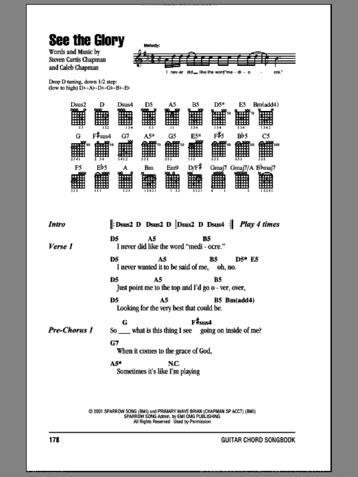 See The Glory sheet music for guitar (chords) by Steven Curtis Chapman, intermediate. Score Image Preview.