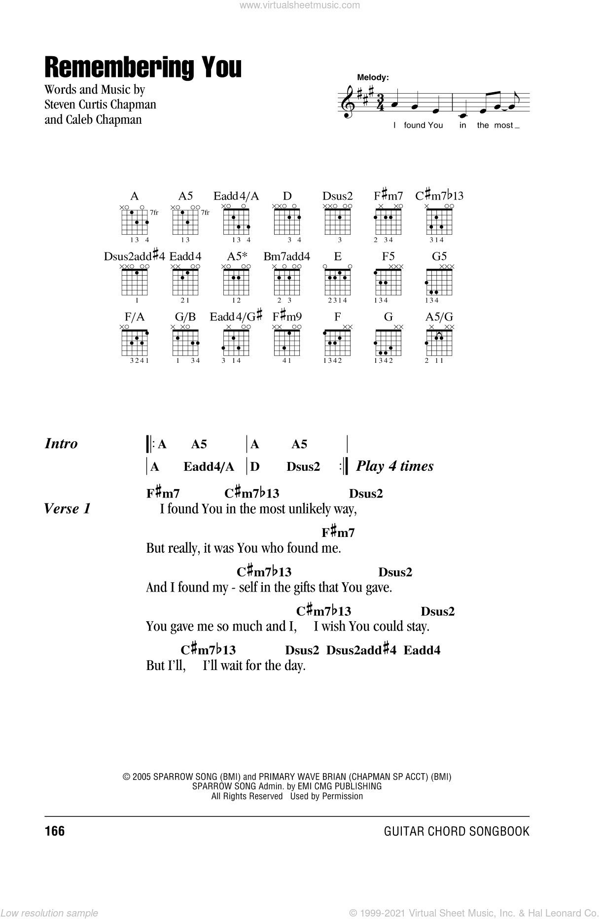 Remembering You sheet music for guitar (chords) by Caleb Chapman and Steven Curtis Chapman. Score Image Preview.