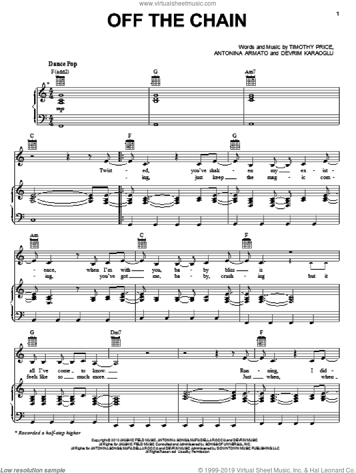 Off The Chain sheet music for voice, piano or guitar by Timothy Price