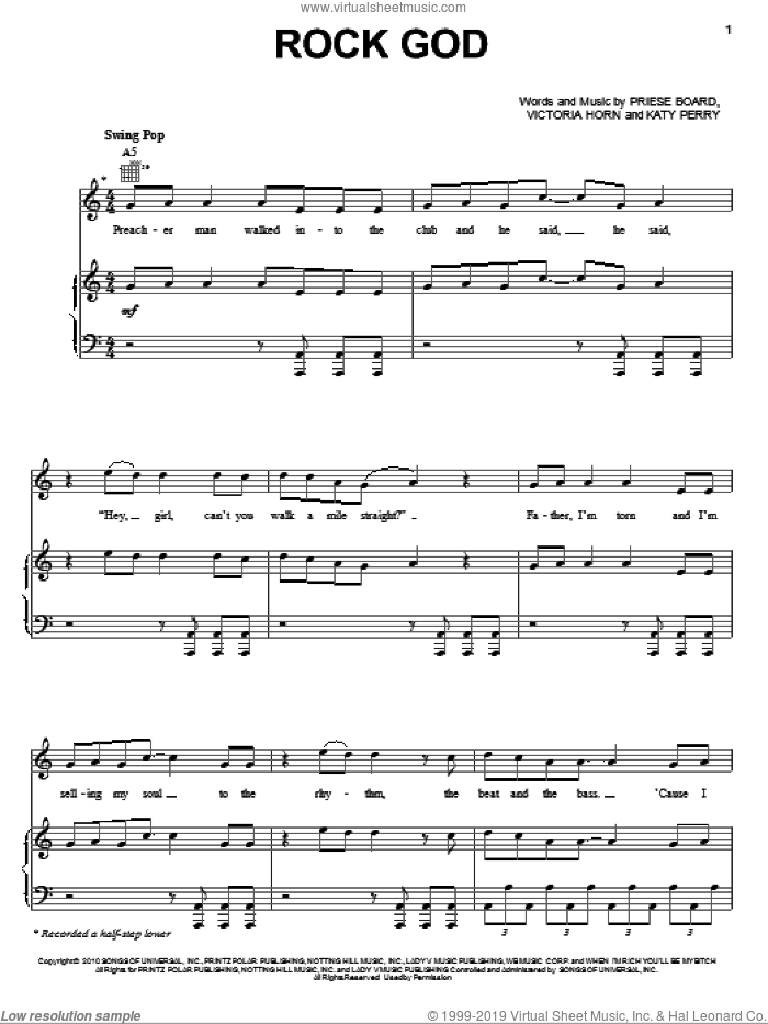 Rock God sheet music for voice, piano or guitar by Katy Perry, Selena Gomez, Priese Board and Victoria Horn, intermediate skill level