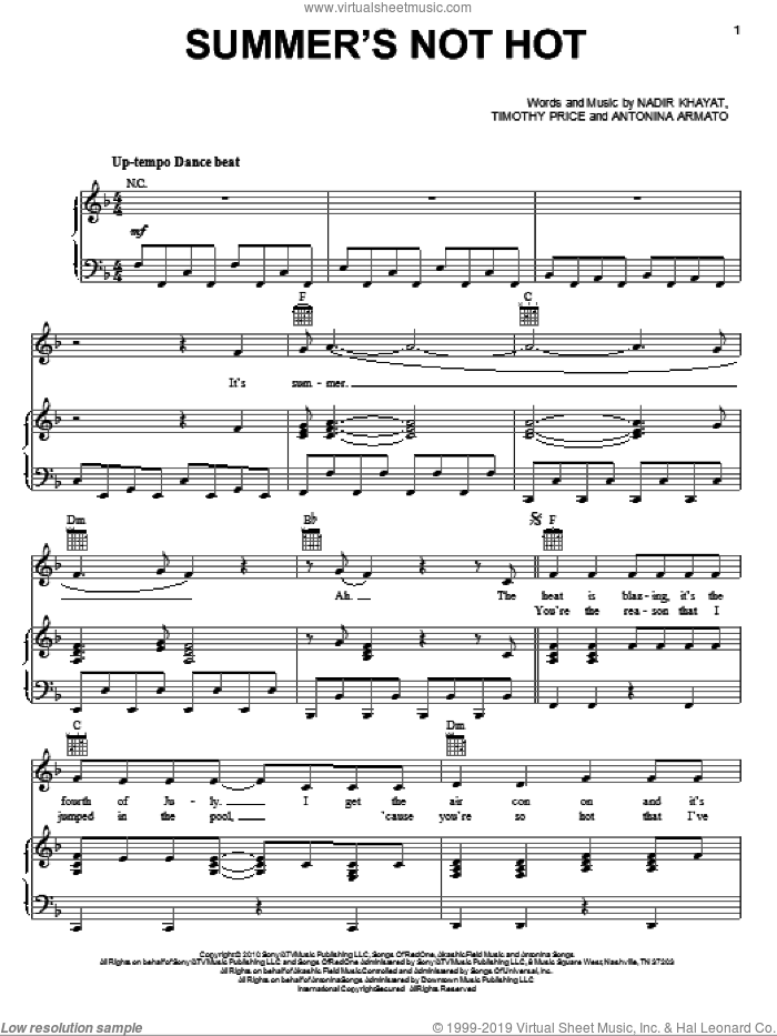 Summer's Not Hot sheet music for voice, piano or guitar by Selena Gomez, Antonina Armato, Nadir Khayat and Timothy Price, intermediate skill level