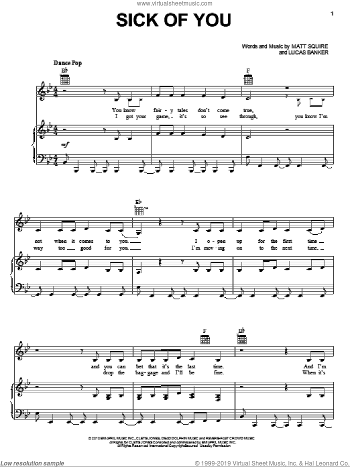 Sick Of You sheet music for voice, piano or guitar by Matt Squire and Selena Gomez. Score Image Preview.