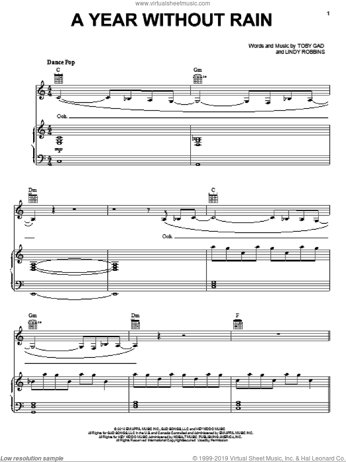 A Year Without Rain sheet music for voice, piano or guitar by Toby Gad and Selena Gomez, intermediate. Score Image Preview.