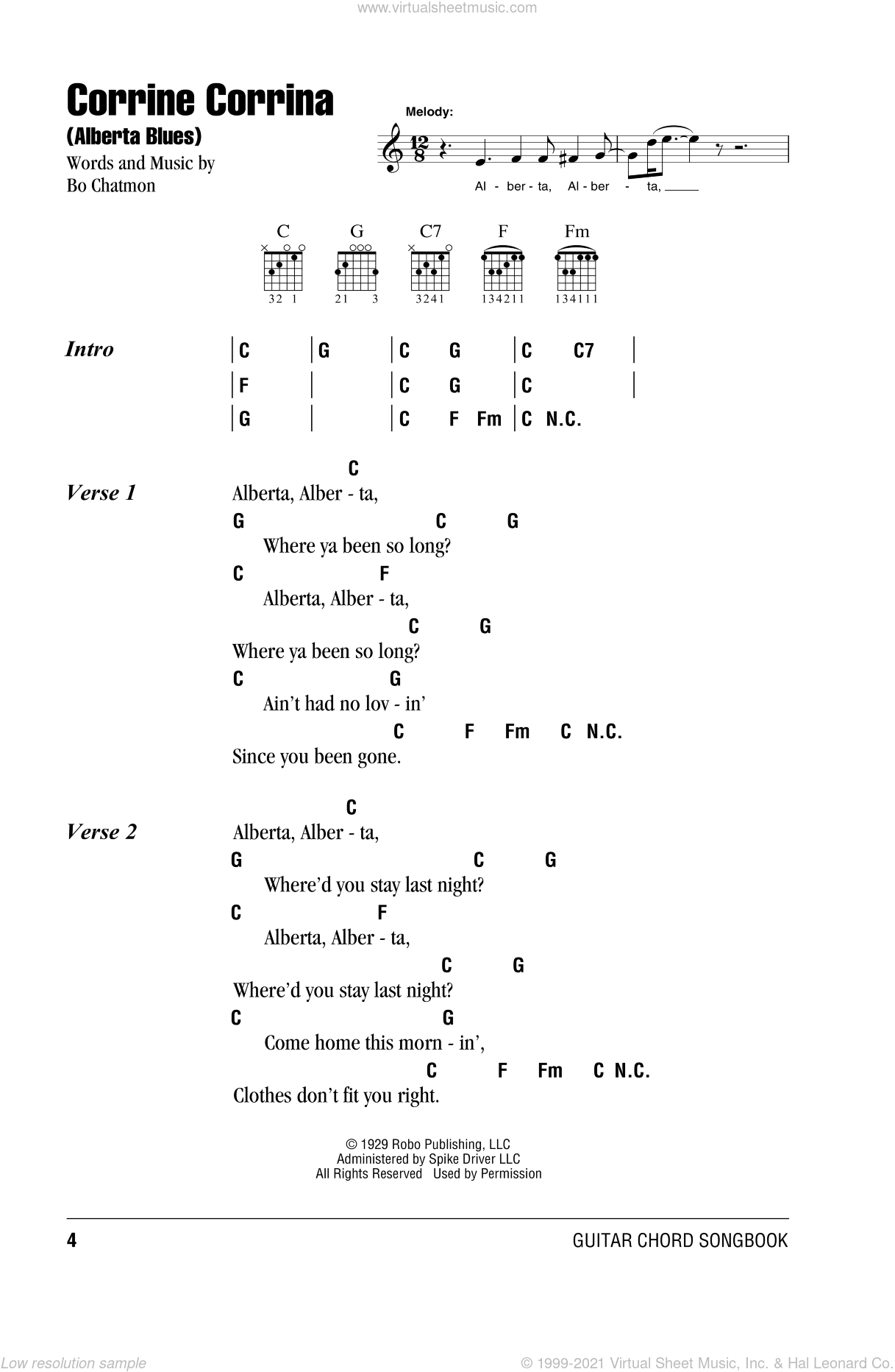 Alberta sheet music for guitar (chords) by Huddie Ledbetter