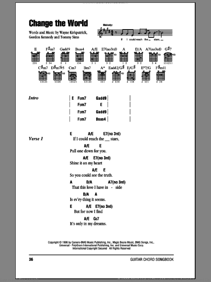 Change The World sheet music for guitar (chords) by Eric Clapton, Gordon Kennedy, Tommy Sims and Wayne Kirkpatrick, intermediate guitar (chords). Score Image Preview.