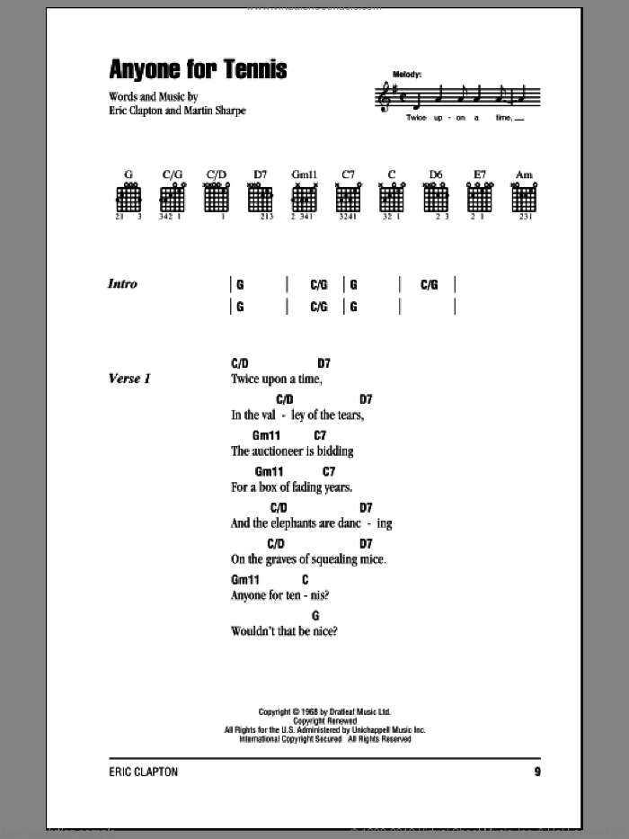 Anyone For Tennis sheet music for guitar (chords) by Martin Sharp, Cream and Eric Clapton. Score Image Preview.