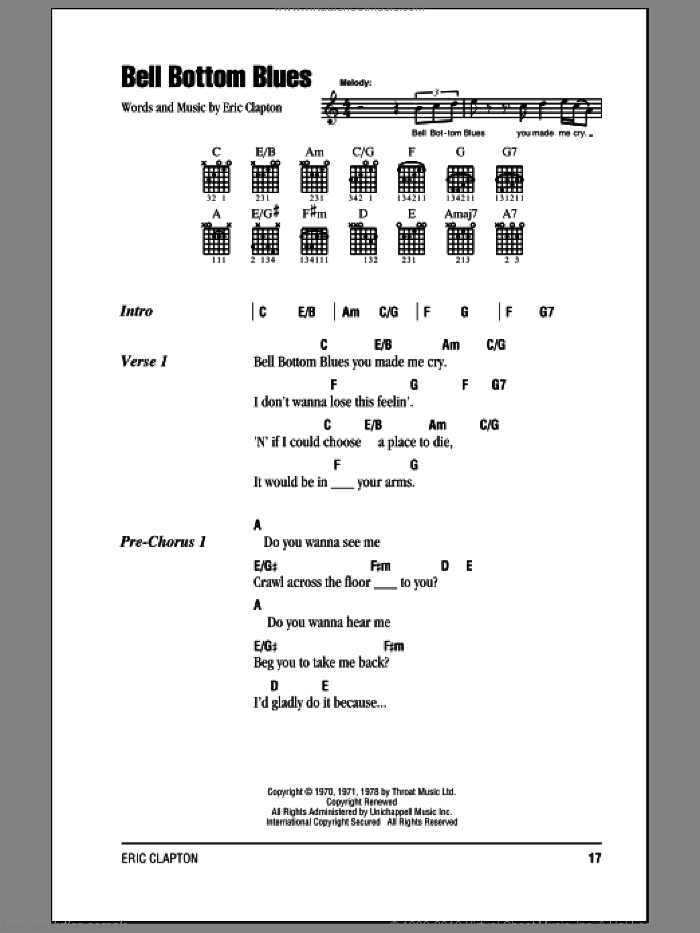 Bell Bottom Blues sheet music for guitar (chords) by Derek And The Dominos and Eric Clapton. Score Image Preview.